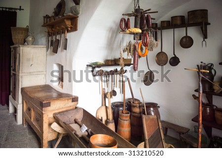 BRAUBACH, GERMANY - JUNE 10, 2015: Kitchen in the Marksburg castle. It is one of the principal sites of the UNESCO World Heritage Rhine Gorge
