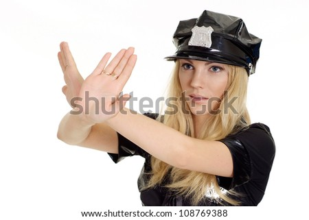 Brauteous girl in a uniform of  police officer on a white background