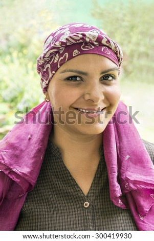 Brave Latin cancer patient This beautiful woman is under chemotherapy treatment to cure breast cancer - stock photo