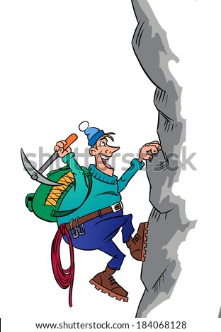Brave smiling climber with equipment  on a mountain - stock photo