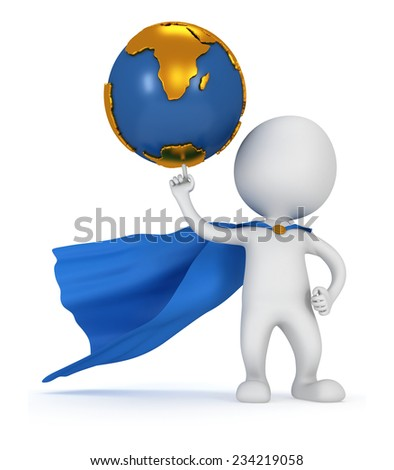 Brave super businessman with blue cape hold Earth globe on pointing finger. Isolated on white 3d render. Success, internet, world concept. - stock photo
