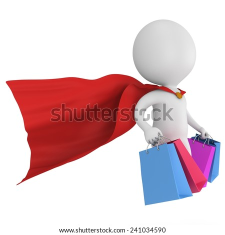 Brave super hero with red cloak and colored paper shopping bags flying above. Isolated on white 3d man. Merchandise, shopping, mystery shopper concept. - stock photo