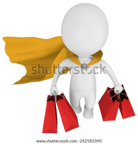 Brave super man with yellow cloak and red paper shopping bags flying above. Isolated on white 3d man. Merchandise, shopping, mystery shopper concept. - stock photo