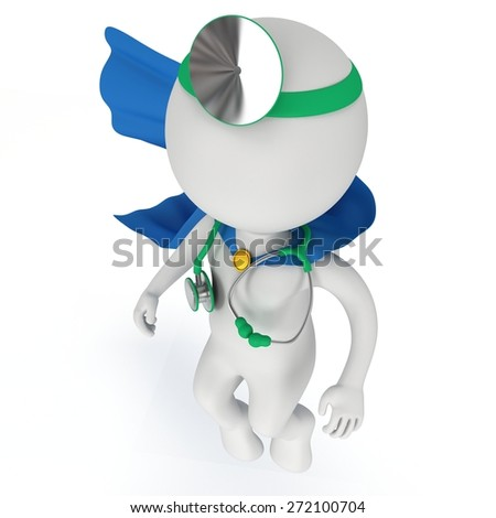 Brave superhero doctor with blue cloak, stethoscope and mirror on his head. 3d render man isolated on white. Medicine and healthcare concept. - stock photo