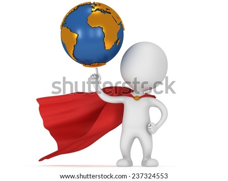 Brave superhero hold world on pointing finger. Isolated on white 3d render. Business, manager, earth concept.