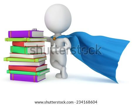 Brave superhero student with blue cloak and colored books. Isolated on white 3d man. Education, university concept. - stock photo