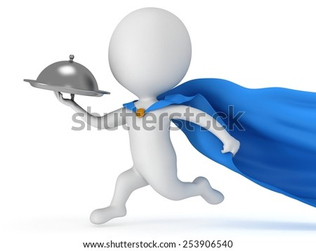 Brave superhero waiter with silver tray and blue cloak runs to quickly deliver meal under cloche or dome. Isolated on white 3d render. Delivery concept.