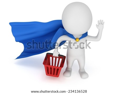 Brave superhero with blue cloak and red shopping basket. Isolated on white 3d man. Merchandise, shopping, mystery shopper concept. - stock photo