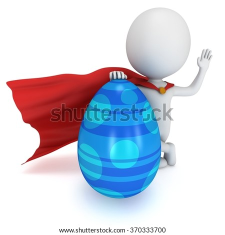 Brave superhero with red cloak with Easter Egg. Isolated on white 3d man. Easter holiday and super power concept. Say hello or welcome