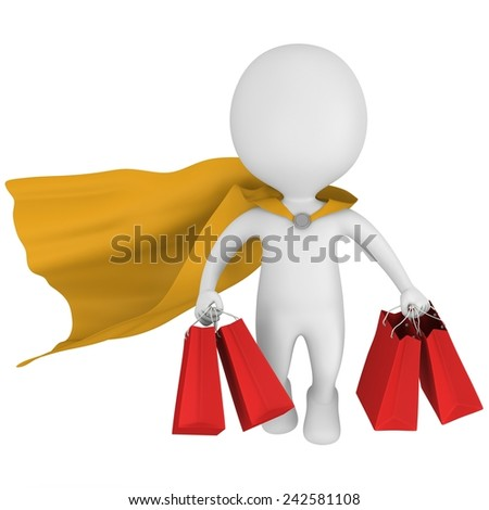 Brave superhero with yellow cloak and red paper shopping bags flying above. Isolated on white 3d man. Merchandise, shopping, mystery shopper concept. - stock photo