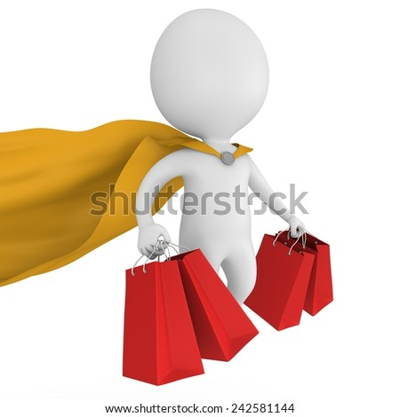 Brave superman with yellow cloak and red paper shopping bags flying above. Isolated on white 3d man. Merchandise, shopping, mystery shopper concept. - stock photo