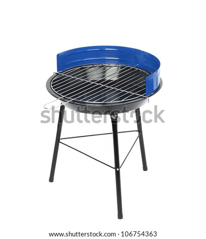 Brazier for kebabs on a white