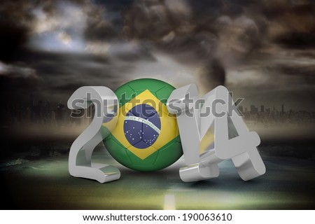 Brazil 2014 against stormy sky with tornado over road - stock photo