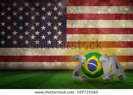 Brazil 2014 against usa flag in grunge effect - stock photo