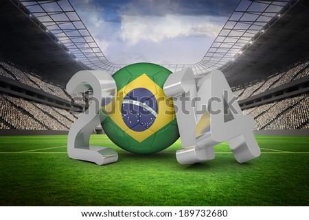 Brazil 2014 against vast football stadium with fans in white - stock photo