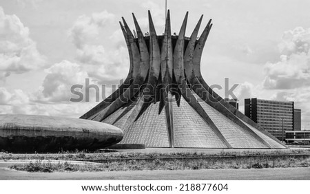 Brazil, Brasilia, view of the city, church - FILM SCAN - stock photo