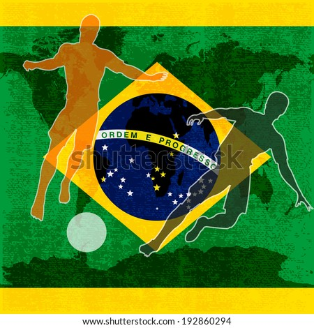 Brazil 2014, Brazilian flag illustration for an international football / soccer championship - stock photo