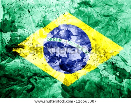 Brazil. Brazilian flag  painted dirty and grungy paper