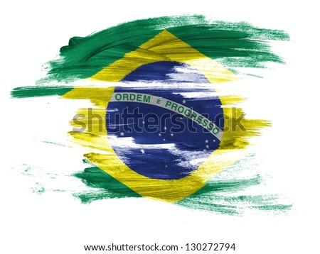 Brazil. Brazilian flag  painted on white surface