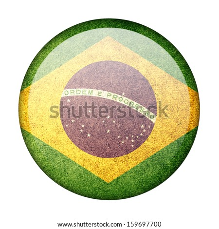 brazil button flag - stock photo