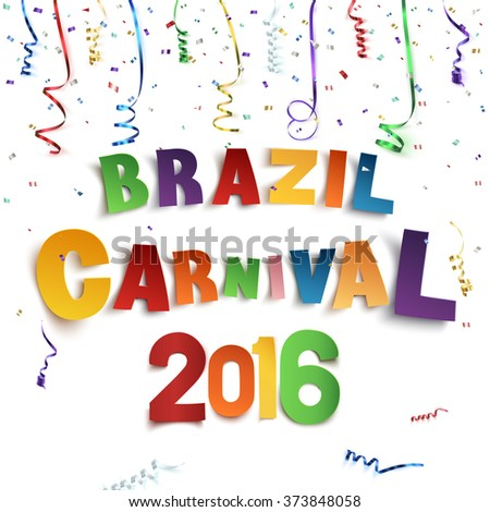 Brazil carnival background with confetti and colorful ribbons on white background.