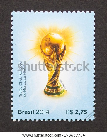 BRAZIL - CIRCA 2014: a postage stamp printed in Brazil commemorative of 2014 FIFA World Cup Brazil, circa 2014.  - stock photo
