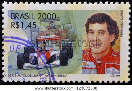 BRAZIL -  CIRCA 2000: A stamp printed in Brazil dedicated to motor shows Ayrton Senna, circa 2000 - stock photo