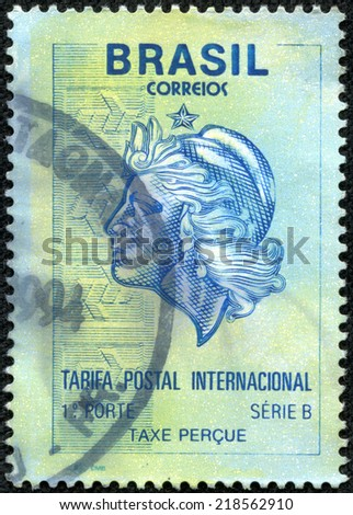 BRAZIL - CIRCA 1994: A stamp printed in Brazil shows allegory of woman, circa 1994 - stock photo