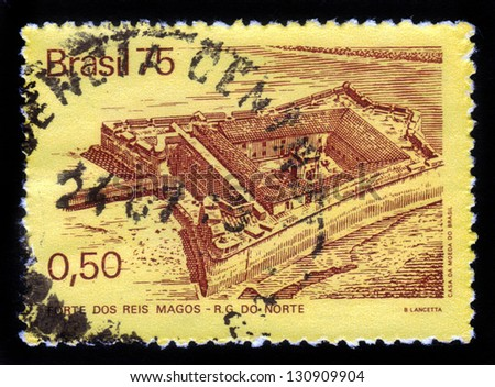 BRAZIL-CIRCA 1975:A stamp printed in Brazil shows fortress of three wise men in Brazil, circa 1975 - stock photo
