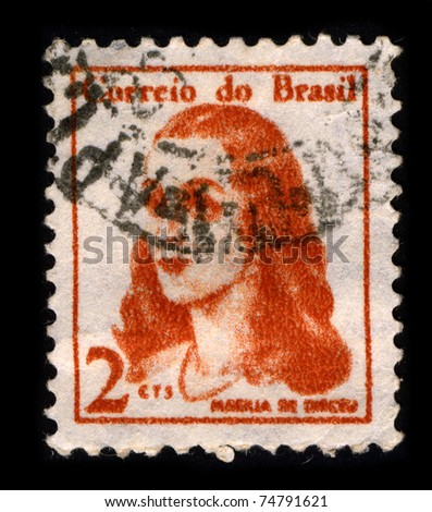 BRAZIL-CIRCA 1967:A stamp printed in BRAZIL shows image of Marilia de Dirceu is a poetry book written by Portuguese Brazilian Neoclassic poet Tomas Antonio Gonzaga, circa 1967. - stock photo