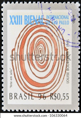 BRAZIL-CIRCA 1996: A stamp printed in Brazil shows the 23 International Biennial of Sao Paulo, painting of Louise Bourgeois,circa 1996