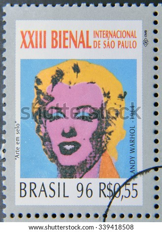 BRAZIL-CIRCA 1996: A stamp printed in Brazil shows the 23 International Biennial of Sao Paulo,portrait of Marilyn Monroe by Andy Warhol,circa 1996 - stock photo