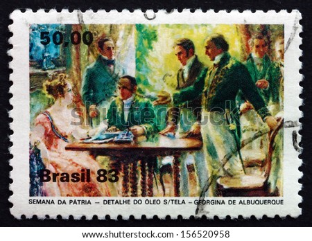 BRAZIL - CIRCA 1983: a stamp printed in the Brazil shows Independence Week, National Holiday, circa 1983