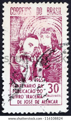 BRAZIL - CIRCA 1965: A stamp printed in the Brazil shows Jose de Alencar and Indian Princess, Centenary of the Publication of Iracema, circa 1965 - stock photo