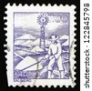 BRAZIL - CIRCA 1977: a stamp printed in the Brazil shows Salt Mine Worker, circa 1977 - stock photo