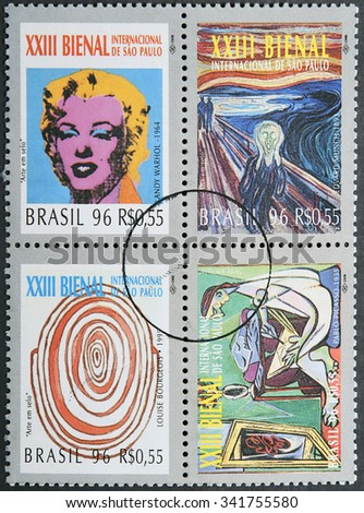 BRAZIL- CIRCA 1996: Four postage stamps of Brazil shows four works of art of the 23 International Biennial of Sao Paulo - stock photo