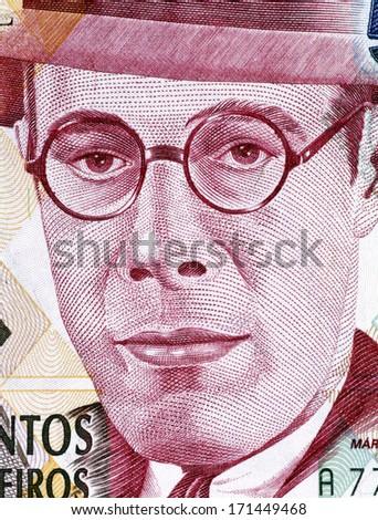 BRAZIL - CIRCA 1993: Mario de Andrade (1893-1945) on 500000 Cruzeiros 1993 Banknote from Brazil. Brazilian poet, novelist, musicologist, art historian and critic, and photographer. - stock photo