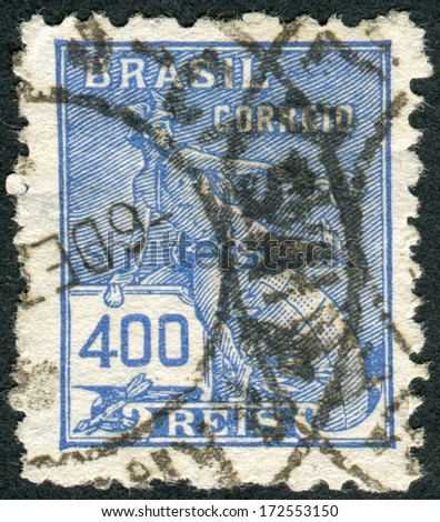 BRAZIL - CIRCA 1929: Postage stamp printed in Brazil, shows the Roman god of commerce Mercury, circa 1929