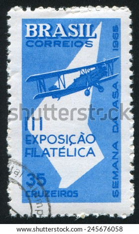 BRAZIL - CIRCA 1965: stamp printed by Brazil, shows  aircraft, circa 1965 - stock photo