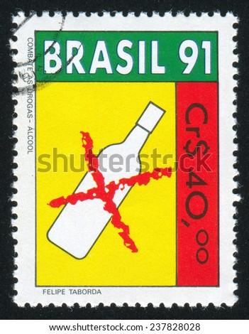 BRAZIL - CIRCA 1991: stamp printed by Brazil, shows  alcohol, circa 1991 - stock photo
