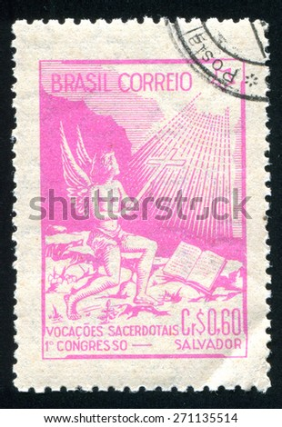 BRAZIL - CIRCA 1949: stamp printed by Brazil, shows  angel and star, circa 1949 - stock photo