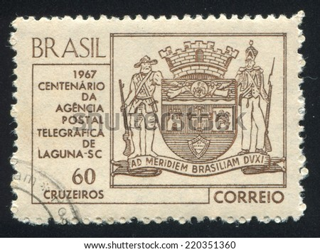 BRAZIL - CIRCA 1967: stamp printed by Brazil, shows  Arms of Laguna, circa 1967