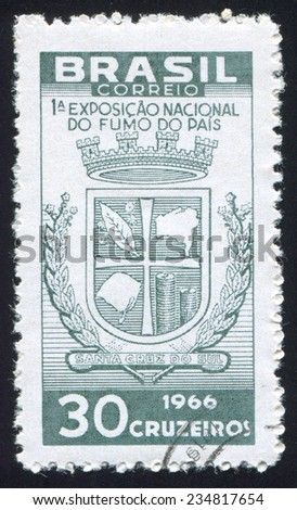 BRAZIL - CIRCA 1966: stamp printed by Brazil, shows  Arms of Santa Cruz, circa 1966