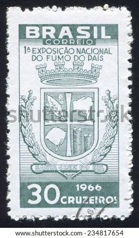 BRAZIL - CIRCA 1966: stamp printed by Brazil, shows  Arms of Santa Cruz, circa 1966 - stock photo