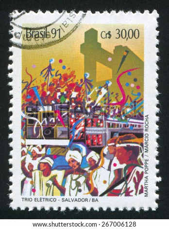 BRAZIL - CIRCA 1991: stamp printed by Brazil, shows  carnivaln, circa 1991