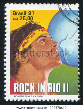 BRAZIL - CIRCA 1991: stamp printed by Brazil, shows  Cazuza, circa 1991 - stock photo