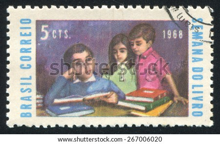 BRAZIL - CIRCA 1968: stamp printed by Brazil, shows  Children with Books, circa 1968 - stock photo