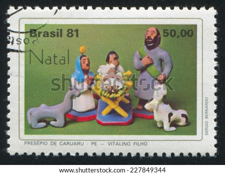 BRAZIL - CIRCA 1981: stamp printed by Brazil, shows  christmas, circa 1981