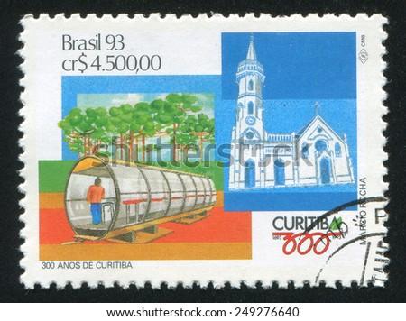 BRAZIL - CIRCA 1993: stamp printed by Brazil, shows  Curitiba, circa 1993 - stock photo