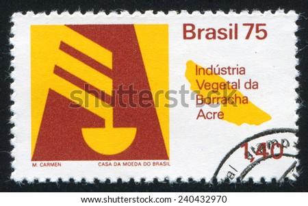 BRAZIL - CIRCA 1975: stamp printed by Brazil, shows  Emblem and Brazilian Pavilion, circa 1975 - stock photo